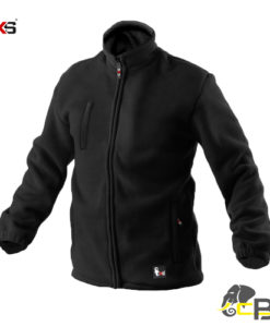 Fleece jacket, zipper fastening, possibility to tightening at the bottom part, warhead sleeves, elastic inner cuff in sleeves, 3 zipper pockets.