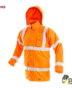 High visibility, padded parka, water-resistant and windproof, hood in the collar, reflective stripes, 4 outside pockets and 1 inside pocket