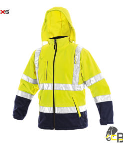 High visible softshell jacket with reflective tapes, water-resistant and windproof, zipper fastening, removable hood yellow