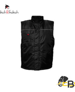 Thermoinsulated waterproof vest with a covered zipper, two front pockets and one breast pocket with Velcro.