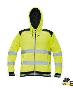 men's zipper hoodie in hi-vis version from a blend of polyester and cotton • 2 reflective stripes on body and sleeve perimeter from polyester cotton French terry non-brushed inside