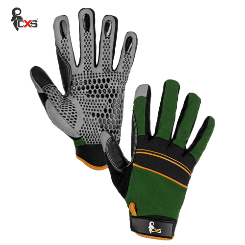 Combined gloves with silicon applications in palm and on fingers for better grip and manipulation CARAZ