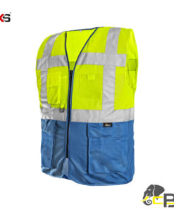 High visible two-colored vest with zipper fastening bolton cubis workwear