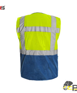 High visible two-colored vest with zipper fastening bolton cubis workwear back