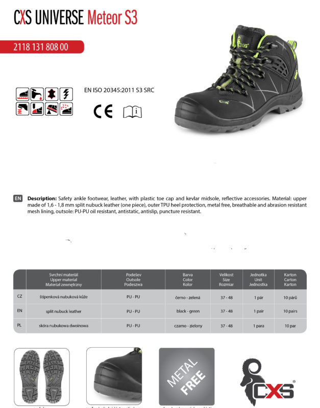 .safety ankle boots CXS UNIVERSE METEOR S3, BLACK - GREEN