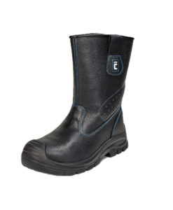 Safety rigger boots with a metallic toe cap and a puncture resistant insole..