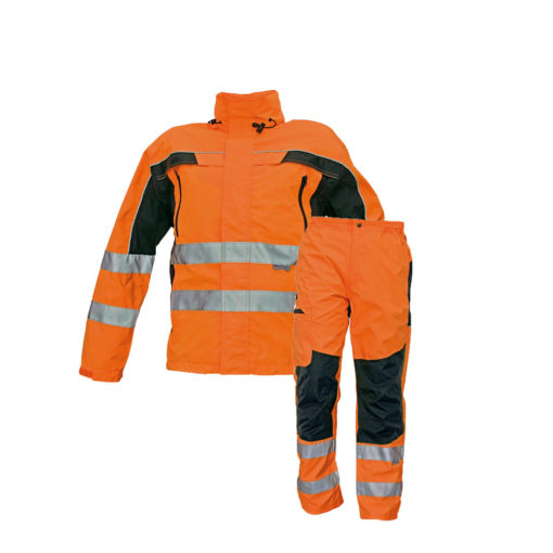 hivis l waterproof jacket and trousers bundle for print and embroidery ticino orange