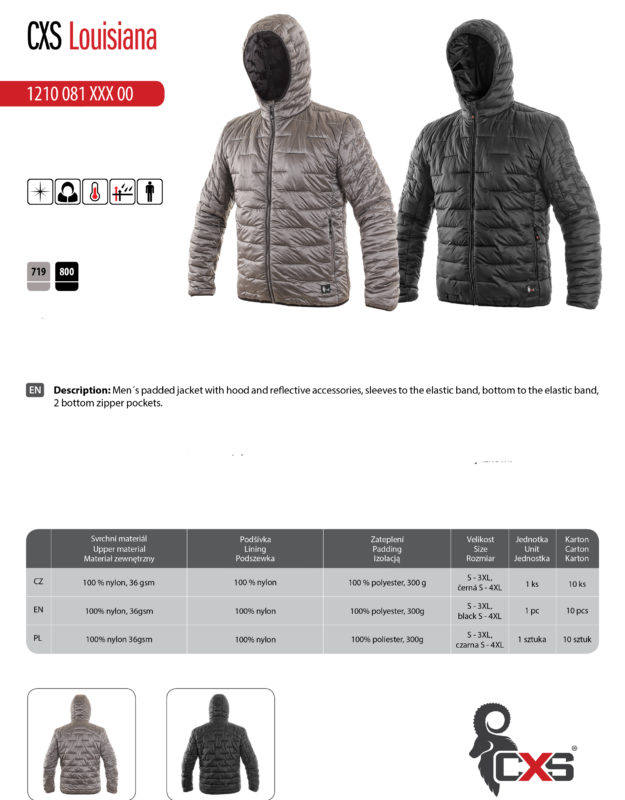 Men´s padded jacket with hood and reflective accessories, warhead sleeves, bottom to the elastic band, rubber wristband, 2 bottom zipper pockets