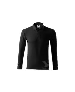 polo shirt long sleeve black pique embroidery print cubis workwear 1